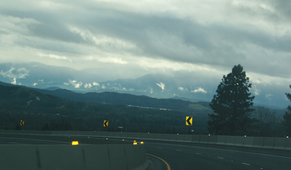 Oregon from the road, rain clouds rolling through.