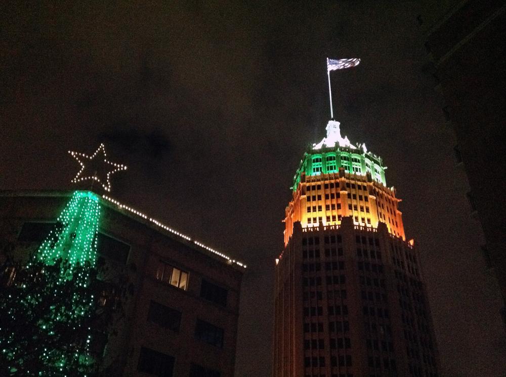 San Antonio Riverwalk Christmas lights.