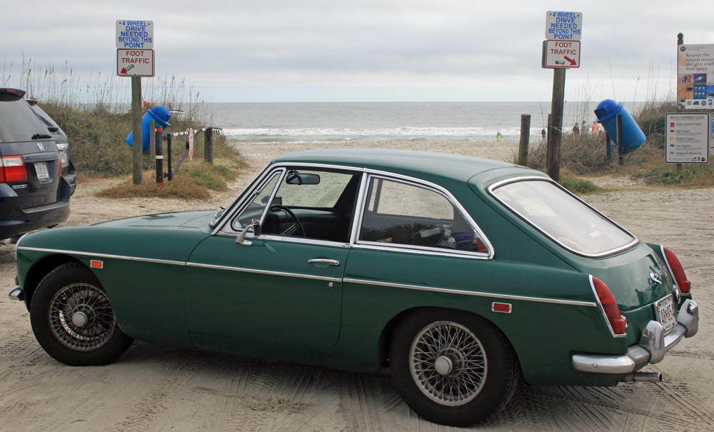 MGB GT at the Atlantic Ocean in Amelia Island, Florida.